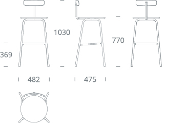 SHAW bar stool - drawing
