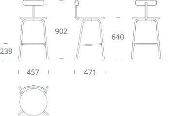 SHAW counter stool - drawing